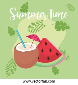summer time watermelon and coconut vector design