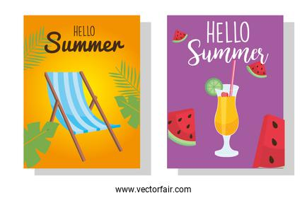 hello summer sun chair cocktail and watermelons vector design