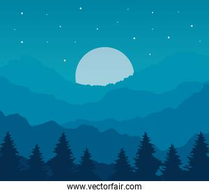 landscape of pine trees and moon on blue background  design