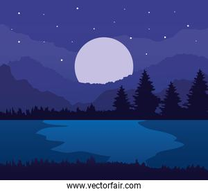 landscape of pine trees lake and moon on purple background vector design