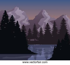 Landscape of mountains pine trees and lake vector design