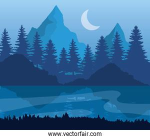 landscape of mountains lake pine trees with moon on blue background vector design