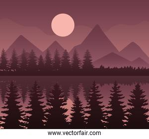 landscape of mountains lake pine trees and moon on brown background vector design