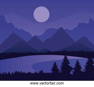 landscape of mountains pine trees lake and moon on purple background vector design