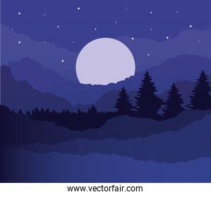 landscape of pine trees and moon on purple background vector design