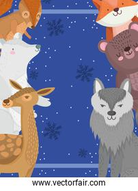 christmas wolf bear reindeer fox and squirrel animal winter snowflakes