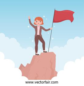 woman leadership with flag on a peak business success