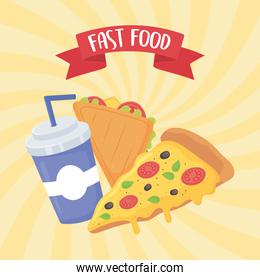 fast food, sandwich pizza and soda with straw poster