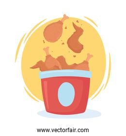 fast food, roasted chicken in box icon design