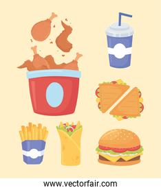 fast food, chicken sandwiches french fries burger and soda