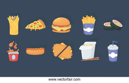 fast food, burrito pizza burger french fries sushi soda chicken hot dog icons