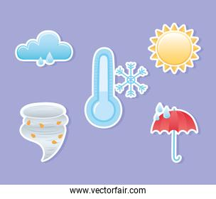weather icons collection hurricane rainy winter cold sun summer stickers