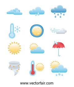 weather icons set, rainy winter summer sun night moon cloud sun hot and cold