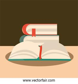 open book and stack textbooks reading and learning