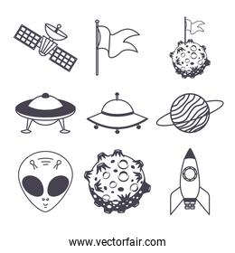 set of space icons on white background