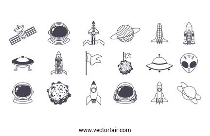 set of space icons over a white background
