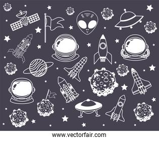 set of space icons over a black background