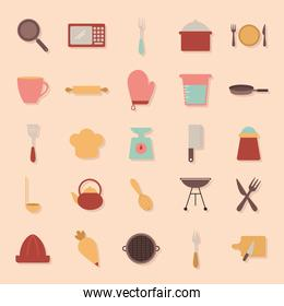 bundle of cooking icons on a orange background