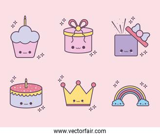 set of birthday icons on a pink background
