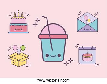 bundle of birthday icons on a pink background