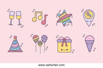 bundle of birthday icons over a pink background