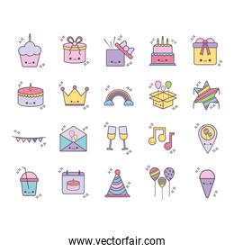 bundle of birthday icons over a white background