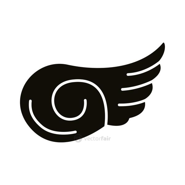 wing feathers bird silhouette style icon