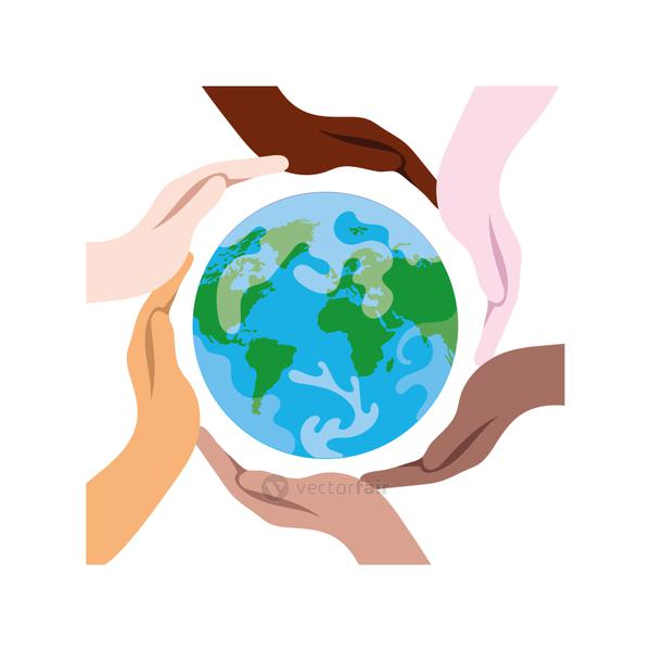 interracial hands around of earth planet