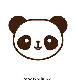 cute little bear panda kawaii animal line and fill style
