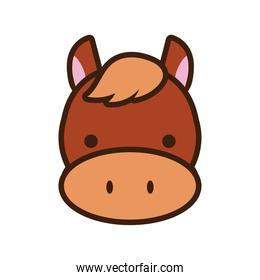 cute little horse kawaii animal line and fill style