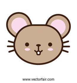 cute little mouse kawaii animal line and fill style