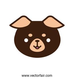 cute bear kawaii animal line and fill style