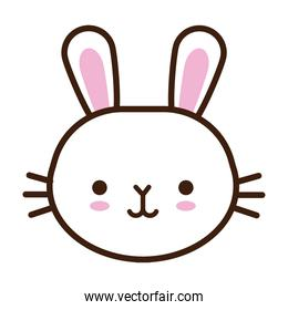 cute little rabbit kawaii animal line and fill style
