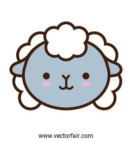 cute little sheep kawaii animal line and fill style