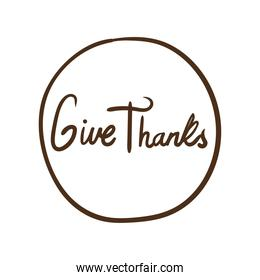 give thanks lettering line style icon