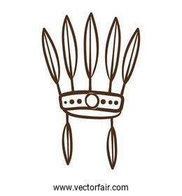 native feathers hat line style icon