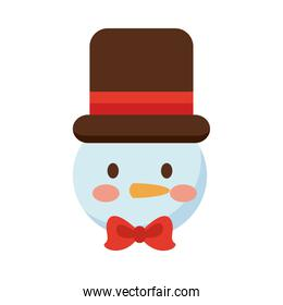 happy merry christmas snowman flat style icon