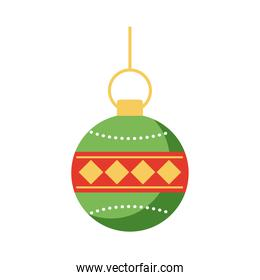 happy merry christmas ball hanging flat style icon