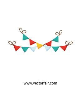merry christmas garlands hanging flat style icon