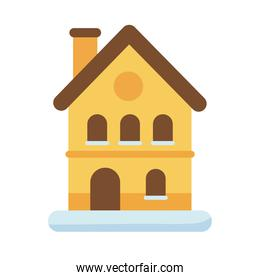 cute house with chimney and snow flat style icon