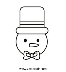 happy merry christmas snowman line style icon