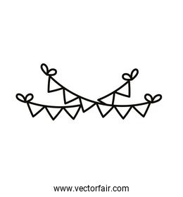 merry christmas garlands hanging line style icon