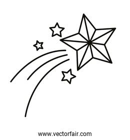 shooting star christmas decoration line style icon