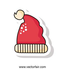 happy merry christmas red santa claus hat sticker icon