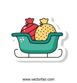 happy merry christmas sleigh with gifts bag sticker icon