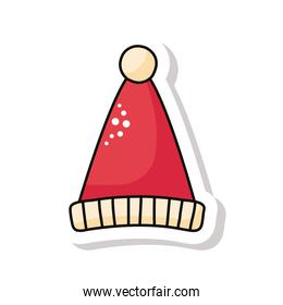 merry christmas red santa hat sticker icon