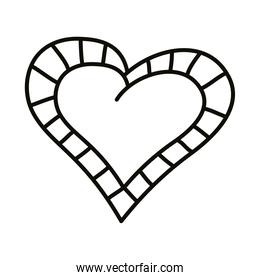 striped border heart love romantic line style icon