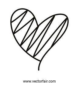 striped heart love romantic line style icon