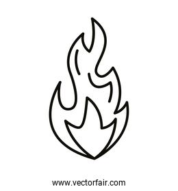 flame fire hot line style icon