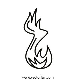 flame fire hot style line icon